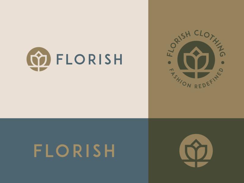 florish women clothing flower negative space logo branding elegant luxury geometry emblem