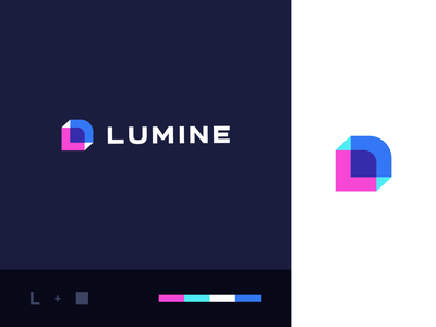 Lumine rectangle box l app clever logo branding abstract technology health