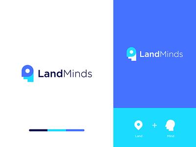 Landminds human brain mind place land clever logo branding abstract technology
