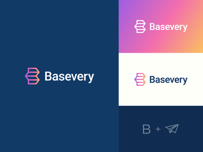 Basevery icon app monogram gradient innovasion paperplane delivery technology abstract branding logo clever
