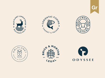 Elegant logo collection - Behance feature fish monogram stag deer emblem geometry luxury elegant animal branding logo owl bird wild