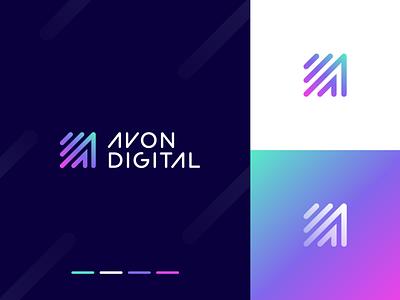 Avon Digital artificialintelligence intelligence innovation artificial digital gradiant arrow a technology abstract branding logo clever letter