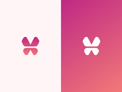 Letter V + Butterfly mark