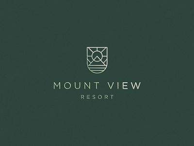 Mountview resort landscape land sun luxury elegant gradient minimal mark abstract flat icon clever branding logo