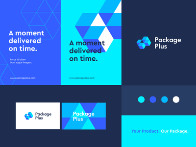 Package Plus - Identity system box deliver package pus technology letter identity abstract flat icon mark clever branding minimal logo