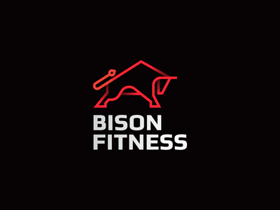 Bison fitness line stroke gradient animal abstract flat icon mark clever branding minimal logo