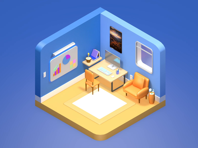Isometric room aftereffects c4d isometric working room room 3d animation