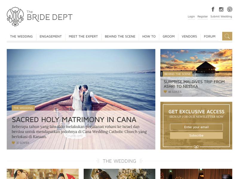 The Bride Dept - Home (Revision) website
