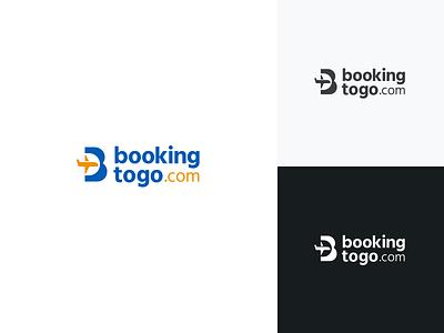 BookingToGo.com Logo airplane b initial travel branding logo