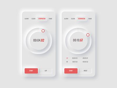 Clock App Neumorphism Design Screens ios app design ios flat design uiux uiux design designs interaction uiuxdesign website ux flat app ui design