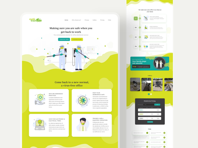 Home Page design office disinfection services clean office clean home new normal virus sanitization virus free office disinfection services website landing page home page