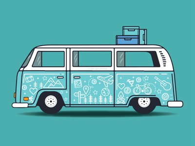 Travel Van graphicdesign minimalism adobe illustrator icon sticker minimal vector doodleart illustration art illustration wanderlust travel van travel