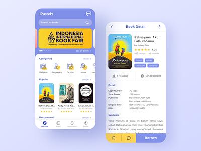 iPusnas App book app library library app book uidesign uiux mobile ui mobile app design mobile design mobile app mobile app design app ux ui