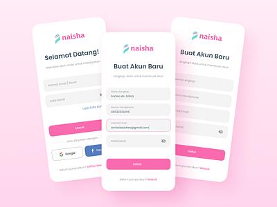 Naisha Muslim App | Login & Sign Up islam islamic muslim muslimah uiux authentication login sign up sign in register mobile app app mobile ui design ux ui