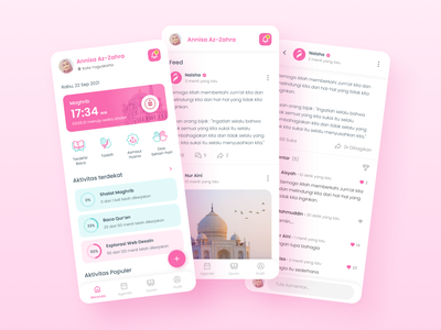 Naisha Muslim App  |  Home social network social social media home mobile ui design app mobile app uiux muslimah muslim islamic islam ux ui