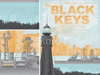 The Black Keys Gig Poster for Buffalo, New York black keys gig poster buffalo new york lighthouse battleship waterfront nautical factories rust belt travel