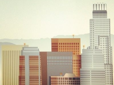 Working on a upcoming Los Angeles art print los angeles california skyscrapers buildings architecture city mountains vector gradients halftones texture