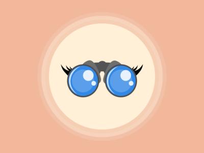 Binoculars: nothing to look for badge illustration see binoculars sad