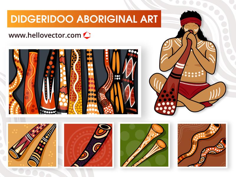 Didgeridoo Aboriginal Art Collection design graphics art aborigines clipart illustration vector didgeridoo aboriginal