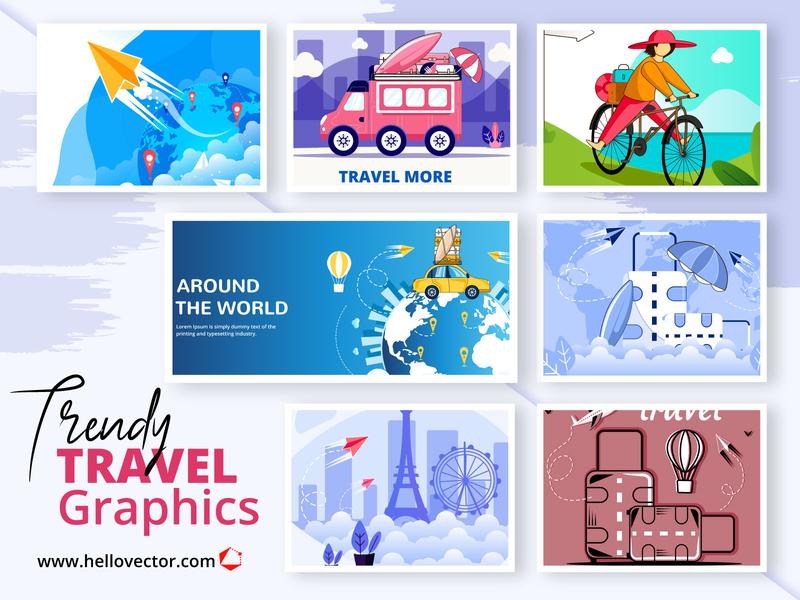 Travel Graphics Collection world tour tourism tour travel design clipart illustration vector graphics
