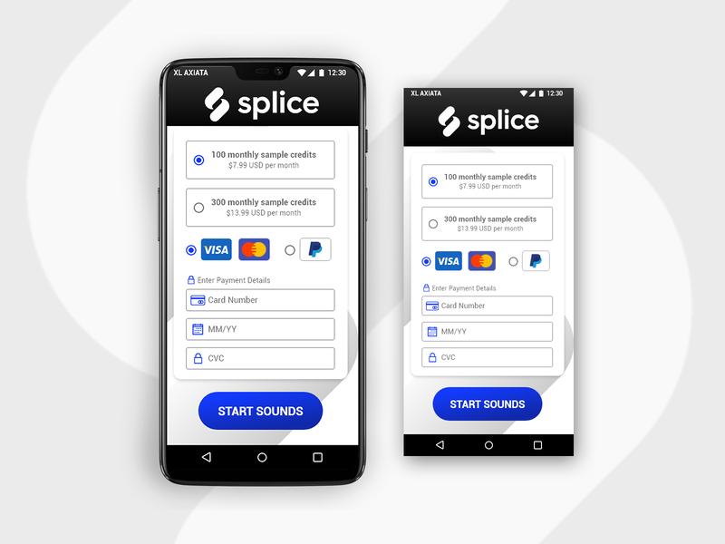 Splice Check Out icon ux ui design app