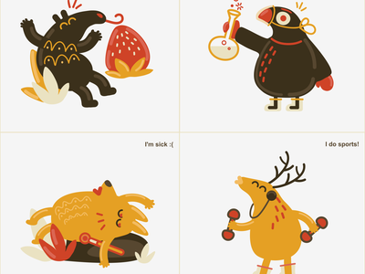 Local Style Illustrations - Cartoon Arabica dove fox deer anteater illustraion
