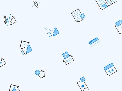 DTE Iconset design illustrator blue outline stroke logo branding iconography icon house