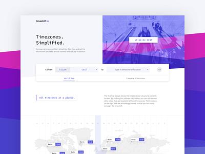 timeshift.io Landing Page V3 web interface webdesign design sideproject dailyui screendesign landingpage city map world website