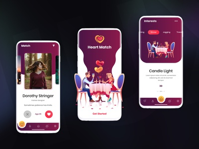 Online Dating - Mobile App heartbeat dinner mobile app development services web development services web development company design illustration logo mobile app development company mobile app design uiux uidesign love matches tinder online dating dating app ui creative design