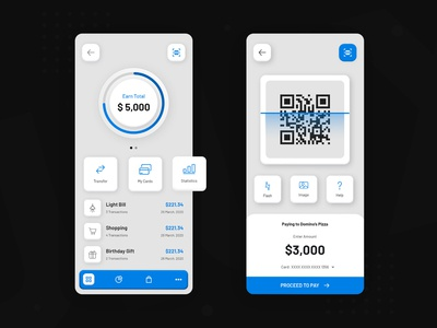 Online Payment Mobile App - Light Mode clean digital money online payment blue embossed new trend black and white design mobile app design mobile app development company ux ui uidesign creative design creative