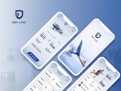 Sky Line - Flight Booking App dark blue blue sky training flight booking new trend illustration clean uidesign ux ui mobile app design design mobile app development company creative design