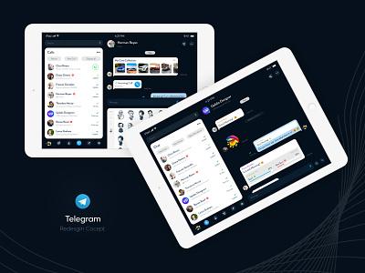 Telegram - Messenger App Redesign Concept - ipad blue new trend design clean ux ui mobile app design mobile app development company uidesign creative design