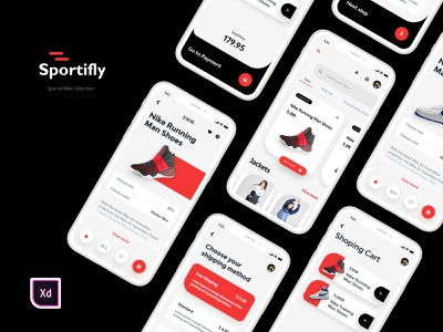Sportifly - Nike Special Collection Shoes Ecommerce App shopping cart shoes app ecommerce app shopping app logo new trend design clean ux ui mobile app design mobile app development company uidesign creative design