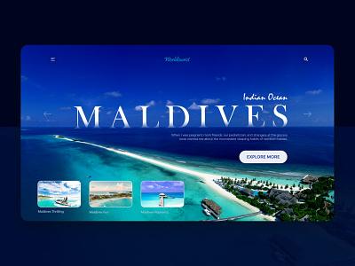 Maldives - Creative Traveling Landing Page Design web design web development company blue traveling travel agency maldives landing page webdesign ui ux clean design new trend uidesign creative design