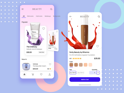 Cosmetics & Beauty  Mobile App ui ux ui deisgn app design cosmetic ecommerce makeup app design skin care product ui design beauty shopping app ios mobile app cosmetics concept