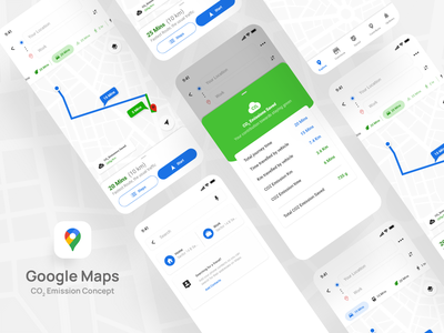Google Maps CO2 Emission ecofriendly greentech saveplanet google google maps minimal love like interface app design app ux ui product design design adobexd