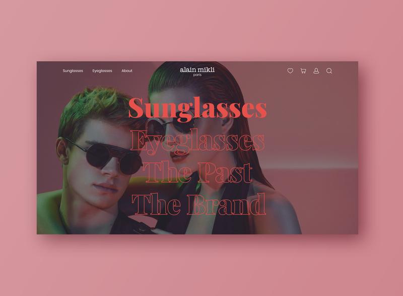 Alain Mikli Website | Homepage outline red serif menu typogaphy sunglasses glasses fashion photography ui design website alain mikli desktop ui