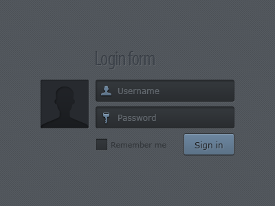 Login form login sign in form input ui kit dark avatar blue log in