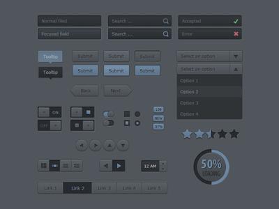 Darkblue UI Kit - Freebie