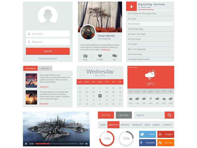 Red UI Kit ui kit flat player weather button search login menu download psd free psd freepsd