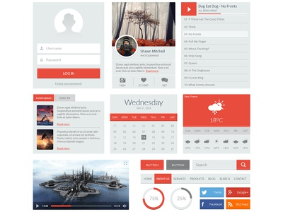 Red UI Kit ui kit flat player weather button search login menu download psd free psd freepsd