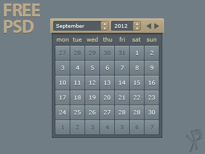 Calendar free download psd calendar ui dark free download freebie