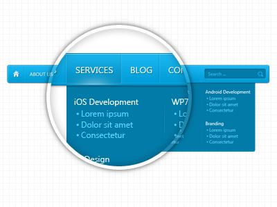 Blue menu blue menu dropdown drop-down horizontal web ui free download free download psd freebie