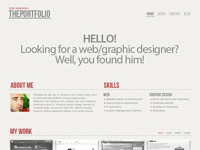 The Portfolio (free psd) free psd portfolio template clean minimal red design download freebie free psd