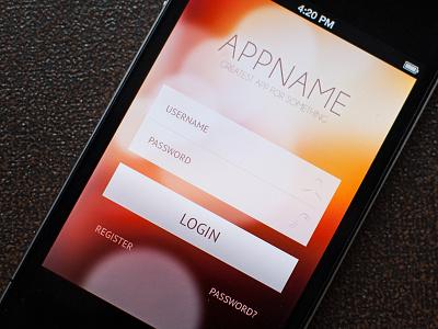 Login screen login sign sign in iphone app application ui design clean bokeh modern apple screen ios