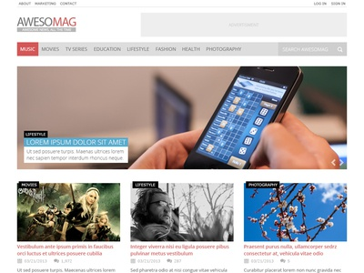 Awesomag - Free PSD freebie free psd magazine blog flat template psd download awesome clean minimal