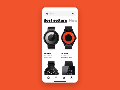 Watch shop concept profile catalog animation ux ui shop