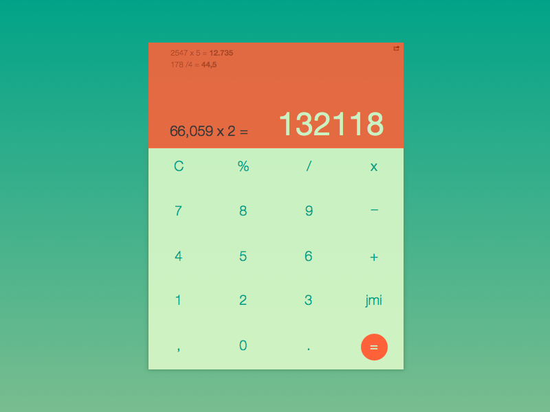 Calculator gradient numbers card calculator 004 ux form daily challenge ui