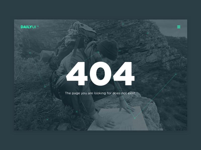 404 Page menu landing 404 page 008 photo challenge daily ux ui