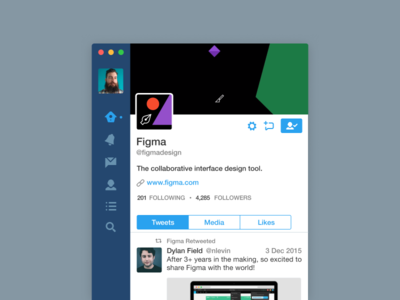 Twitter App in Figma recreation fig freebie sigma mac app twitter
